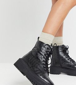 extra wide fit lace up boot with cleated sole in croc-Black