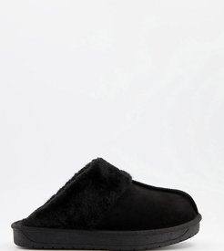 extra wide fit mule slippers in black