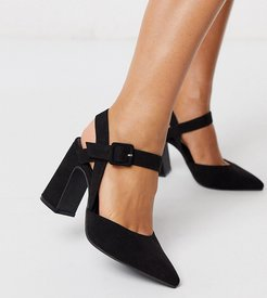 pumps with flared heel in black-Blue