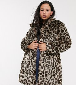 faux fur coat in leopard print-Multi