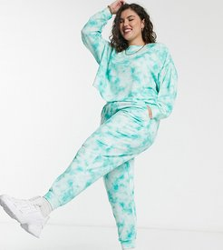 oversized sweatpants in tie dye print-Multi