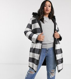reversible padded jacket in black and white check