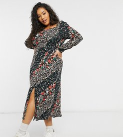 square neck jersey midi dress with front slit-Multi