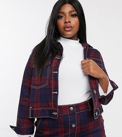 two-piece denim jacket in check print-Multi