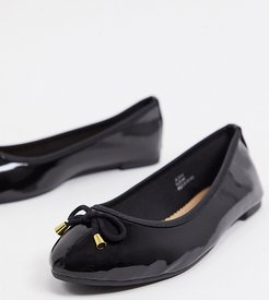 wide fit ballet flats in black patent