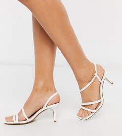 strappy square toe heeled sandal in white-Silver