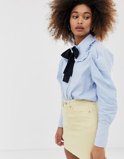jewel button shirt with pussybow and pooch broach detail-Blue
