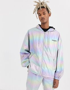 holographic reflective track jacket-Silver