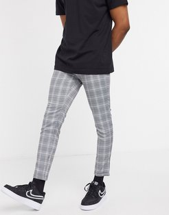 pants with buckle in gray check