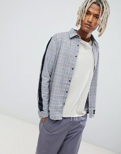 shirt with all over check and side stripes-Gray