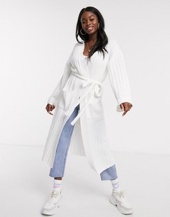 maxi cardigan with belted waist in light knit-White