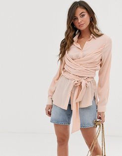 shirt with wrap ties-Pink