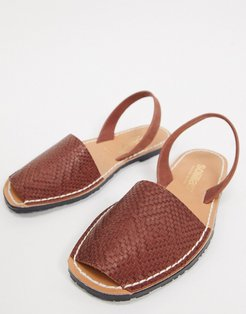 leather woven menorcan sandals in tan