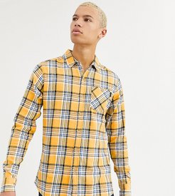 Tall fitted check shirt with pocket-Yellow