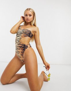 asymmetric ring cut out swimsuit in animal-Multi