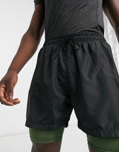 double layered performance shorts with inner pocket in black and khaki-Multi