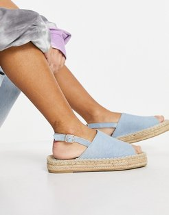 espadrilles with back strap in blue chambray-Blues