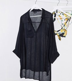 Exclusive oversized beach shirt in black