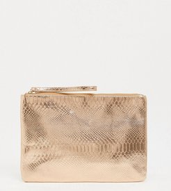 Exclusive snake embossed clutch in rose gold metallic