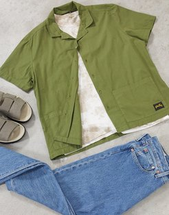 bowling shirt in olive-Green