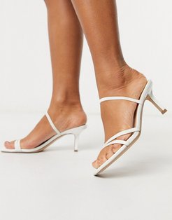 Loft strappy heeled sandal in white patent