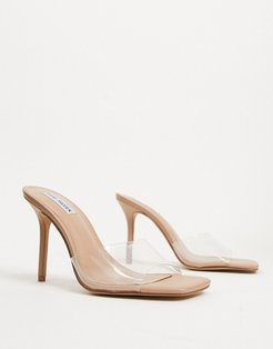 Signal heeled open toe mules in clear