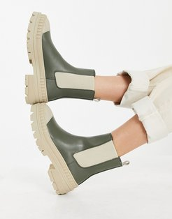ankle wellie boot with contrast sole in khaki-Green