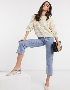 cable knit top set in beige-Neutral