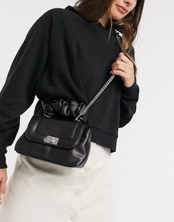 cross body bag with scrunchie handle in black