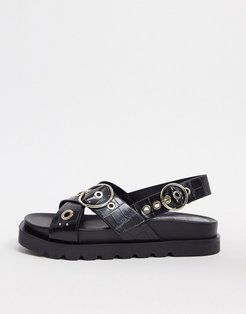 moc croc flat sandal with buckle in black