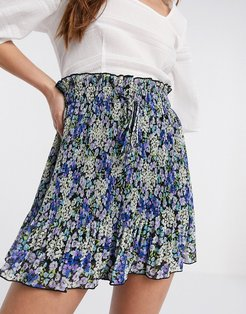 pleated short in blue floral print-Multi
