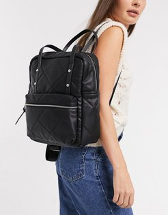 quilted backpack in black