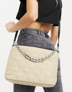 recycled polyester padded shoulder bag with chain in beige-Neutral