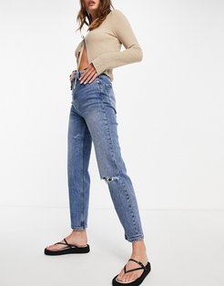 organic cotton slim mom jeans with stretch and rips in medium blue-Blues