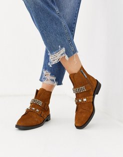 suede jewelled strap boots in tan