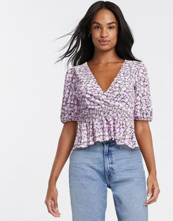 v-neck top in purple floral print-Multi