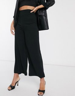 wide leg tailored pants in black