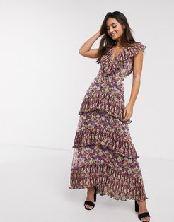 shake it out floral print tiered midi dress in petal pump-Multi