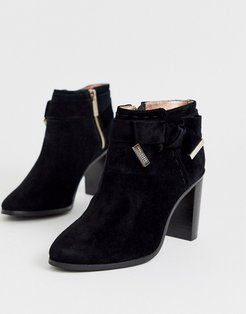 Anaedi suede bow detail heeled ankle boots-Black