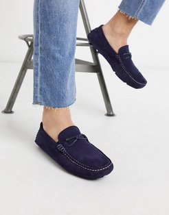 cottn driving shoes in navy suede