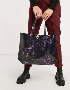 Nimscon pomegranate floral large icon bag in navy