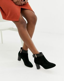 Suede Heeled Ankle Boots-Black