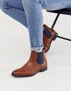 travic chelsea boot in tan leather-Brown
