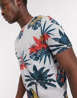 tropical palm print t-shirt in light gray