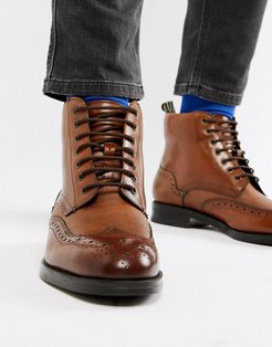 Twrens brogue boots in tan leather