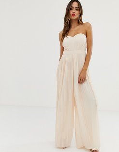 bandeau pleated wide leg jumpsuit in blush-Pink