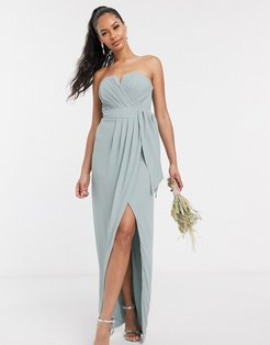 bandeau wrap midaxi dress with pleated detail in sage-Pink