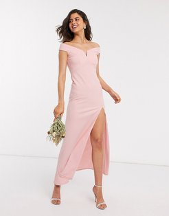 Bridesmaid bardot maxi dress in pink