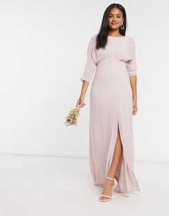 bridesmaid cowl back maxi dress with kimono sleeve in pink