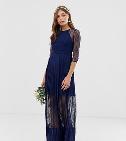 bridesmaid exclusive pleated maxi dress with lace insert in navy